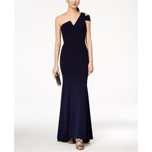 Betsey & Adam One-Shoulder A-Line Gown